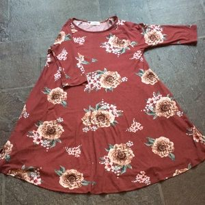 Rust color tshirt soft floral swing dress L